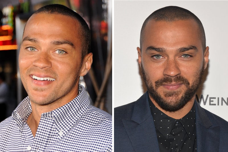 ator jesse williams sem barba e com barba
