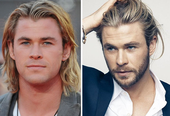 ator chris hemsworth com e sem barba